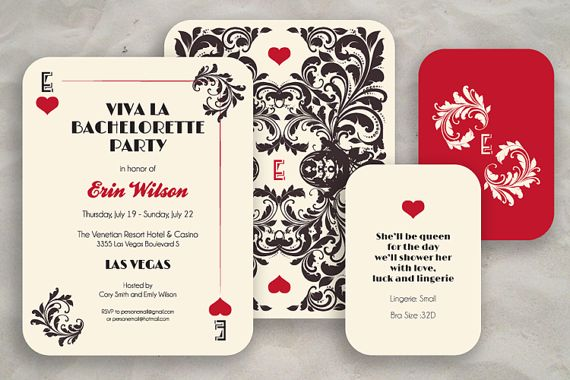Las Vegas Bachelorette Party Invite Round Corners  by ModernSouth, $47.50 ...could build from the alice in wonderland theme: queen of hearts??
