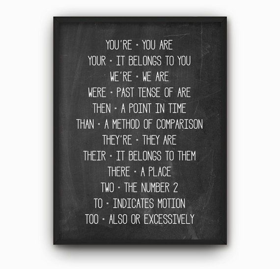 Grammar Wall Art Poster  Common English Language by QuantumPrints