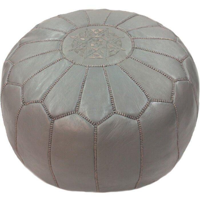 Cherise 20 Wide Genuine Leather Round Pouf Ottoman Leather Pouf Leather Moroccan Ottoman Ottoman