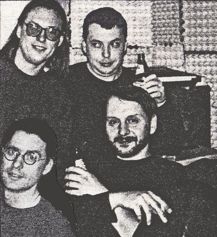 Der Marabu (formation II) 1993 - Michal Kureš, Tomáš Hadrava (sound engineer, former bassist), Josef Škoda, Vladimír Hirsch - in the rehearsal room during recording of Cruci-Fiction album