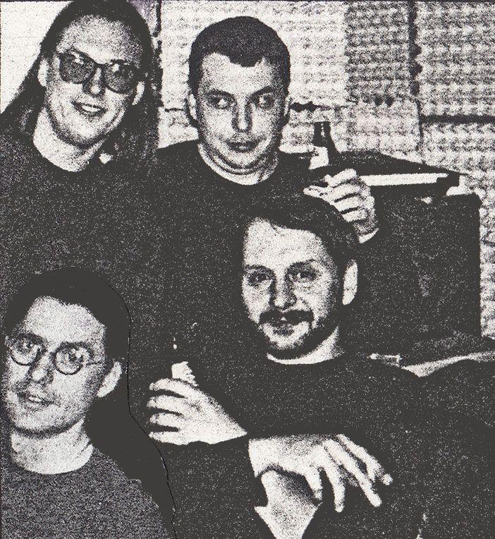 Der Marabu (formation II) 1993 - Michal Kureš, Tomáš Hadrava (sound engineer, former bassist), Josef Škoda, Vladimír Hirsch - in the rehearsal room during recording of Cruci-Fiction album
