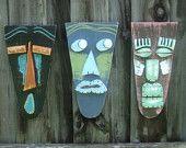 Tiki Bar, Tiki Man, Wood Sculpture, Tiki Mask, Primitive Wall Hanging, Rustic Beach House