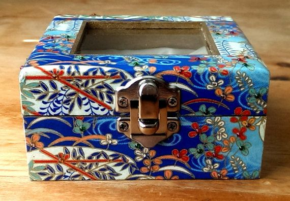 Small Jewelry Box in Blue, White & Gold with Metallic Water Flower Pattern and Crystal Embellishments
