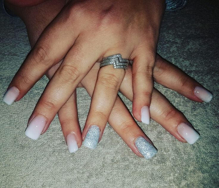 Bridesmaid Nails. French Ombre with silver ring finger.