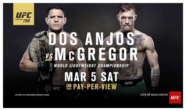 Dos Anjos vs McGregor is Confirmed  on UFC 196,We assume that when you read this page you already know that the fight between Werdum and Velasquez has been cancelled because of the inevitable series of injuries. But fortunately the hype won't stop there. The UFC 196 will still be there. It is important to keep in mind that the UFC 197 has been renumbered to be the UFC 196 due to that occurrence. This