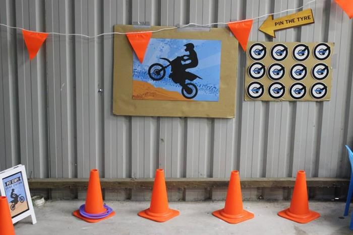 bicycle birthday party games: pin the tires and ring toss onto cones