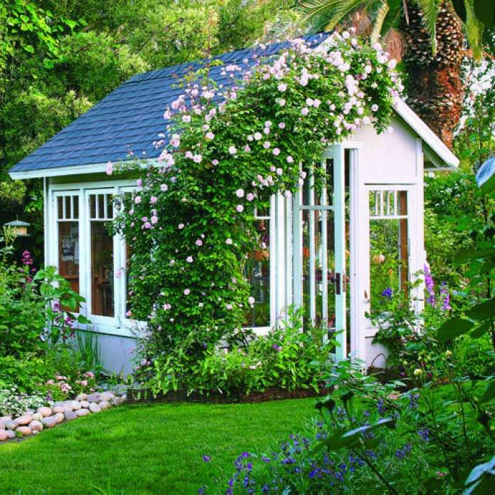 "Garden cottage greenhouse Owner Connie Featherston overwinters her orchids and raises heirloom vegetable seedlings in this 8- x 10-foot garden shed in Exeter, California. ""I had to put a clock in there because I have so much fun, I literally lose track of time,"" she says. A 'Cecile Brunner' climbing rose arches over the garden shed entry. The shed features a recycled door and windows that let in plenty of light. Read more: Great ideas for outdoor rooms Photo: Thomas J. Story, Sunset.com"
