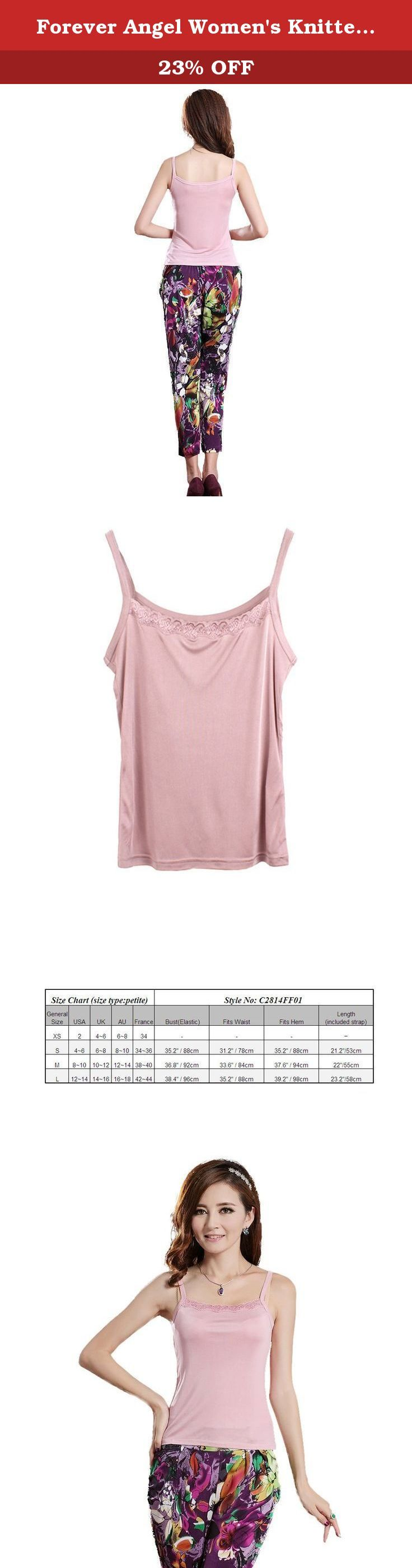 "Forever Angel Women's Knitted Silk Lace Camisole Top Dusky pink Size M. ♦This top features pretty lace, made of 100% Mulberry silk with stretch, more comfortable,soft; ♦The extremely soft knitted-silk material will gently hug your body and will not create any pressure points even when you creased it ; ♦Silk knitting is made of superior quality silk which is known as the ""Queen of Fiber"" for its softness, good ventilation, high moisture absorption, high intensity, good elasticity and..."
