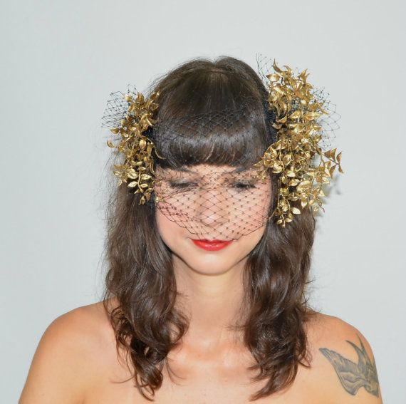 Fascinator Headpiece with Feathery Gold Foliage and Statement Black Veil Across