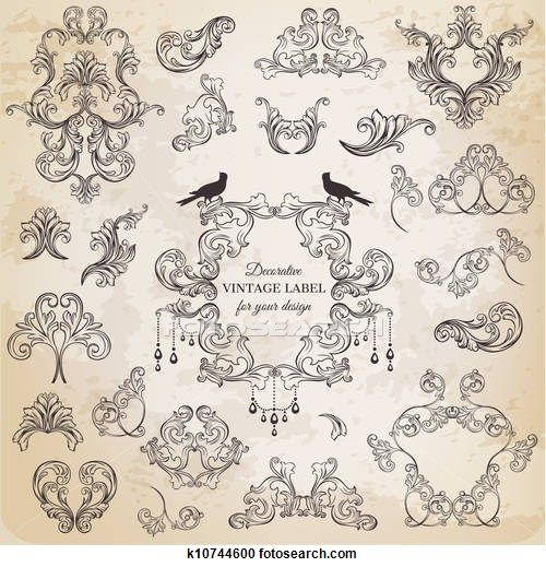 Stock Illustration of Vector Set: Calligraphic Design Elements and Page Decoration, Vintage Frame collection with Flowers
