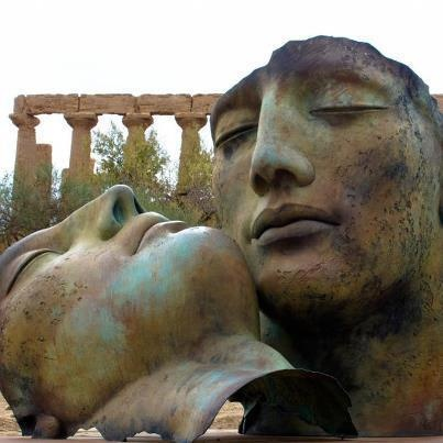 Hermanos, bronze sculptures, Igor Mitoraj, 2010, Valley of the Temples, Agrigento, Sicily