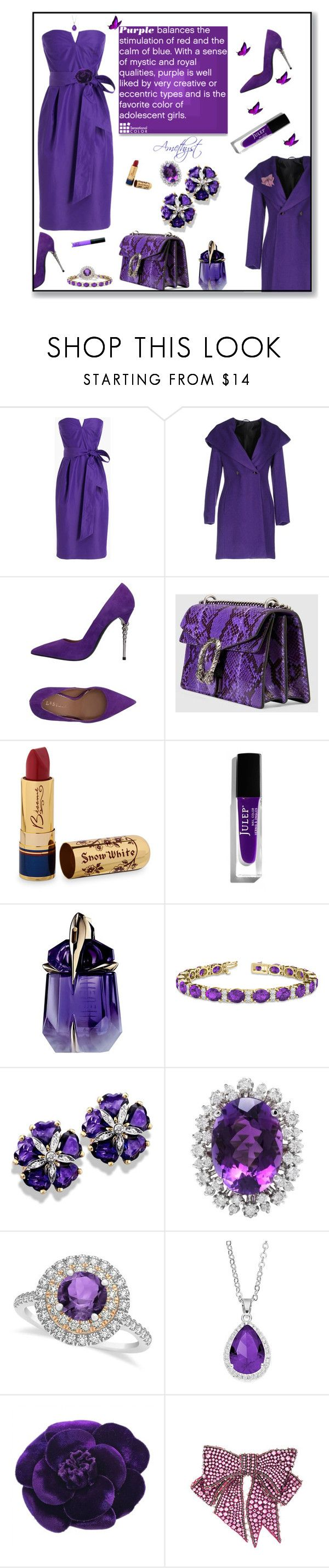 """""""Amethyst"""" by deborah-518 ❤ liked on Polyvore featuring J.Crew, Carla G., Le Silla, Gucci, Bésame, Thierry Mugler, Allurez, City Rox, Chanel and NARS Cosmetics"""