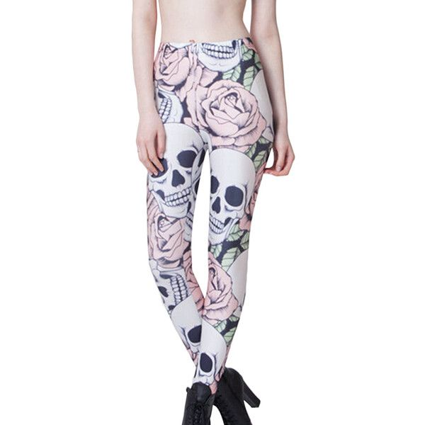 Pink Stylish Womens Rose Skull Printed Skeleton Leggings ($11) ❤ liked on Polyvore featuring pants, leggings, pink, skull print leggings, skull pants, pink trousers, pink pants and pink leggings