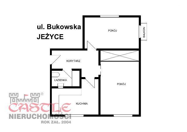 Oferta sprzedaży mieszkania na Grunwaldzie przy ul. Bukowskiej. 2 pokojowe z balkonem, piwnicą i miejscem parkingowym.   Biuro Nieruchomości CASTLE