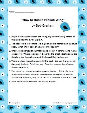 "Using Picture Books with Middle School Students:  ""How to Heal a Broken Wing"" by Bob Graham.  www.teachingrocks.ca"