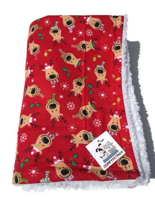 Reindeer Blanket, Christmas Blanket, Dog Blanket, Holiday Blanket, Flannel Baby Blanket, Puppy Baby Blanket, Reindeer Fabric, Red Blanket #ChristmasBlanket #FlannelBlanket #PuppyBabyBlanket #PetBlanket #FlannelBabyBlanket #ComfyPetPads #PuppyBabyBlankets #DogBlanket #HolidayBlanket #ReindeerBlanket