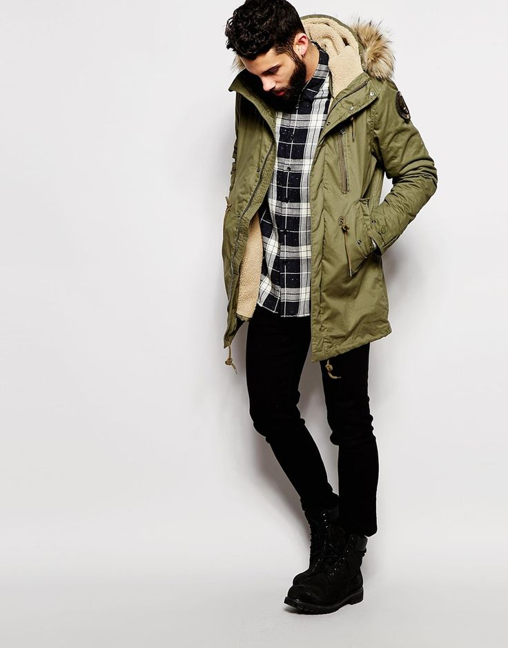 Image 4 of Schott Parka with Borg Lined Hood & Faux Fur Collar