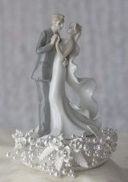 Elegant Vintage Rose Pearl First Dance Wedding Cake Topper