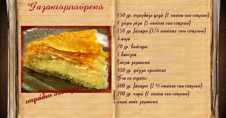 Συνταγές, αναμνήσεις, στιγμές... από το παλιό τετράδιο...: Γαλακτομπούρεκο