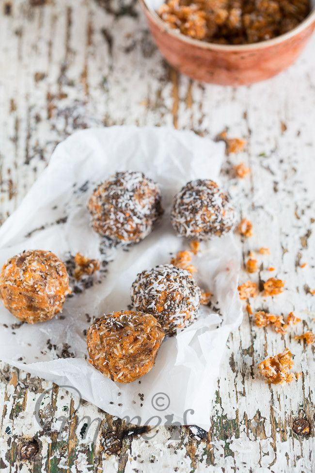 Heerlijke en eenvoudige wortel-dadelballetjes met kokos Wortel dadelballetjes http://simoneskitchen.nl/wortel-dadelballetjes/