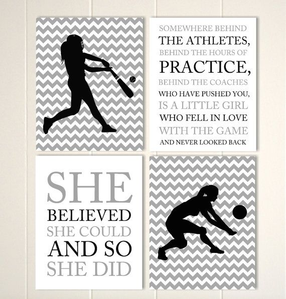 Girls sports wall art, volleyball girls wall art, softball girls art, tween girl wall art, teen girl gift idea, set of 4 prints by PicabooArtStudio