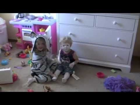 """Little Sister puts """"makeup"""" on little brother"""