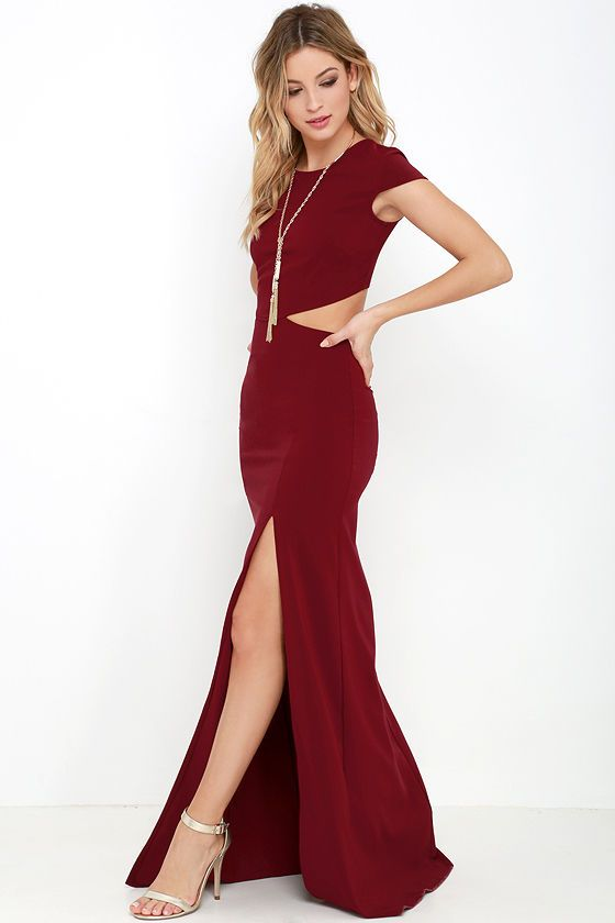 Awesome Conversation Piece Wine Red Backless Maxi Dress