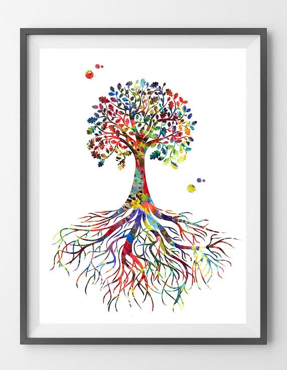 Tree Rooted Watercolor Print rooted tree poster tree by MimiPrints