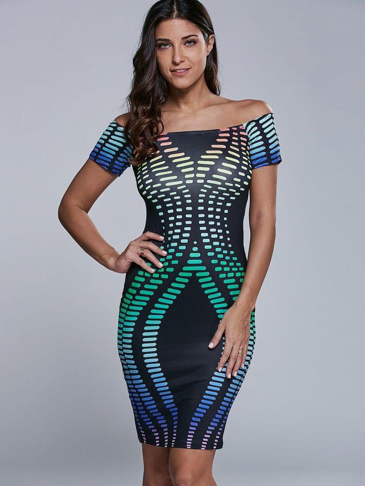 Slim Radio Wave Print Tight Off The Shoulder Bodycon Dress - BLACK S