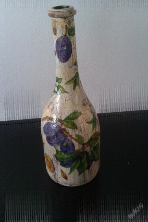 Váza, láhev na slivovicu,slivovici , decoupage 1.