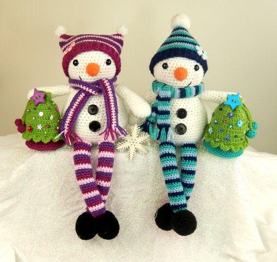 Herr & Frau Snow mit Weihnachtsbaum-Geschenktüte, Amigurumi Häkelanleitung