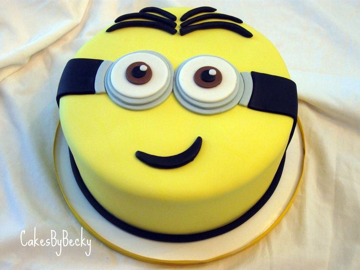 minion cake | Loved this little guy! Strawberry cake with vanilla buttercream ...