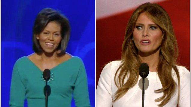 Melania Trump is accused of plagiarizing Michelle Obama's 2008 Democratic National Convention speech when she spoke at the 2016 RNC in Cleveland Monday night.