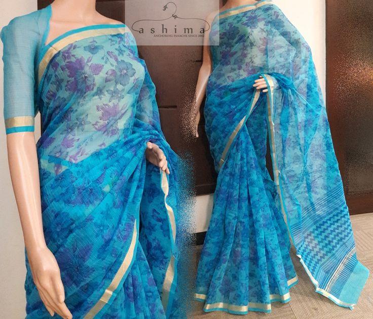 Code:0907178 - Price INR:1090/- , Printed Cotton Kota Saree.