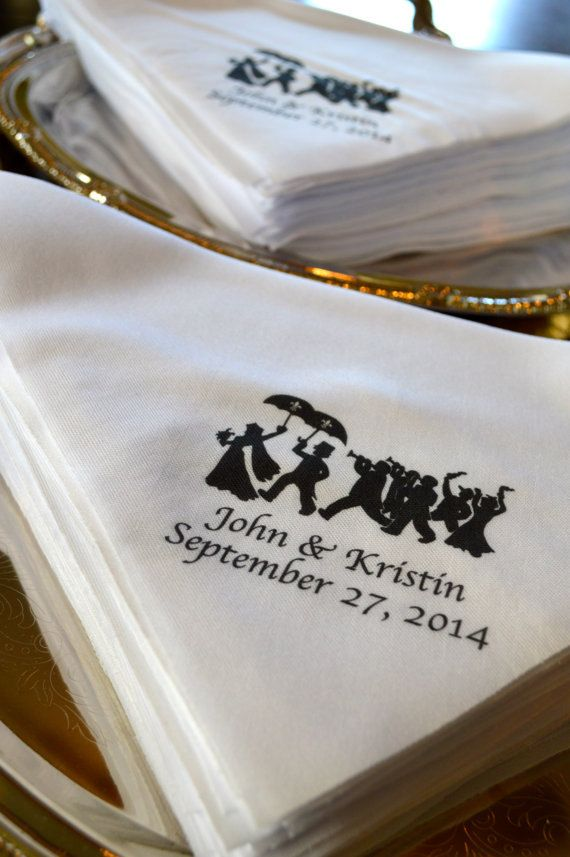 Quantity 75: New Orleans NEW and UNIQUE Second Line Handkerchiefs Wedding with parade art, Black, names and dates, New Orleans, Mardi Gras