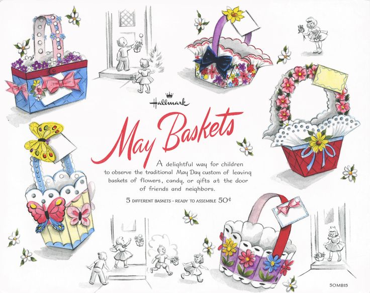 Vintage cutouts of easter baskets! Too cute!