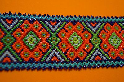 HUICHOL BRACELET PEYOTE  MULTICOLOR MEXICAN FOLK ART BLUE ORANGE