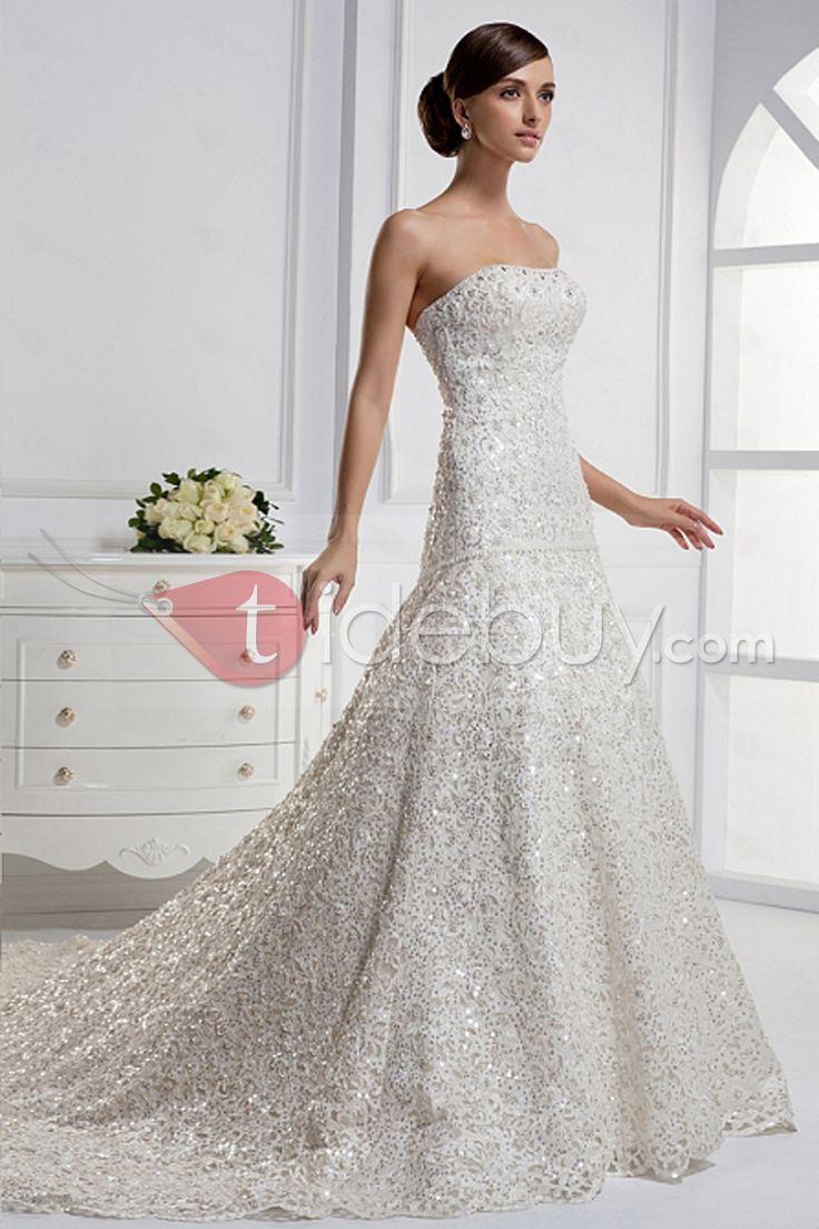 Stunning Mermaid Strapless Floor-length Chapel Train Wedding Dress : Tidebuy.com