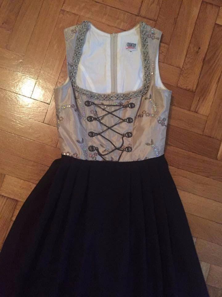 County Line Traditional German Dirndl Dress Costume Black Beige long Sz EU 34  #countryline #Dress