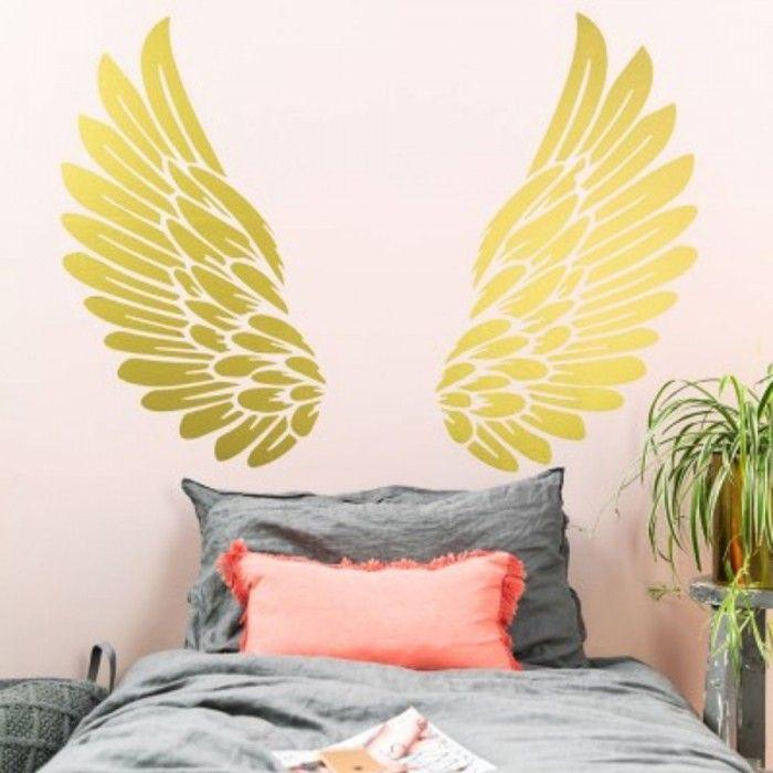 Gold Angel Wings Wall Sticker Angel Wings Wall Decor Angel Wings Wall Art Angel Wings Wall