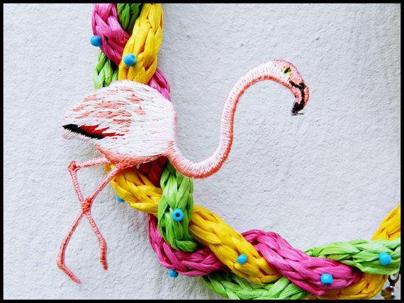 Collier tropical Palm Flamingo en raphia par Leschiffonsdesardine