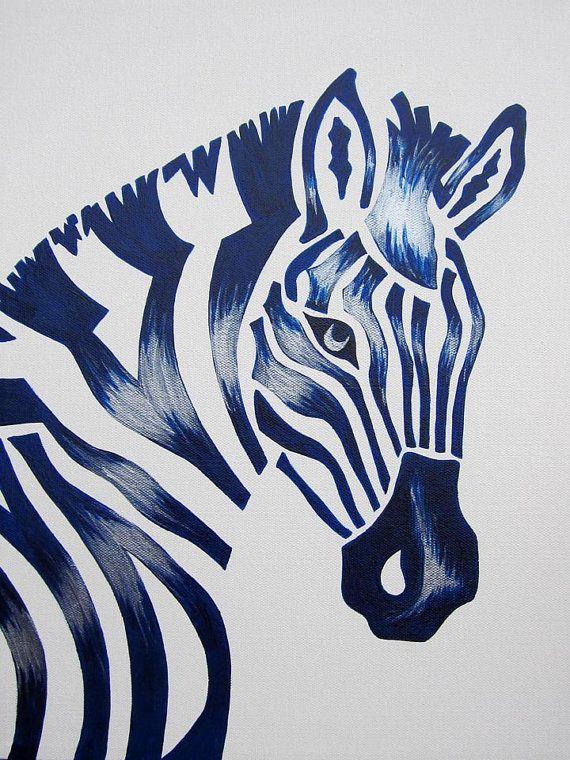 Blue Zebra Safari Nursery Art Zoo Animal. Jungle Theme Kids / Baby Room Decor (painting not a print).