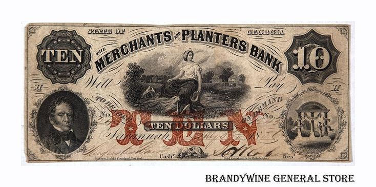 Georgia Obsolete Currency Merchants and Planters Bank ten dollars