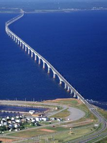 Confederation Bridge spans the Abegweit Passage of Northumberland Strait, linking Prince Edward Island with mainland New Brunswick.