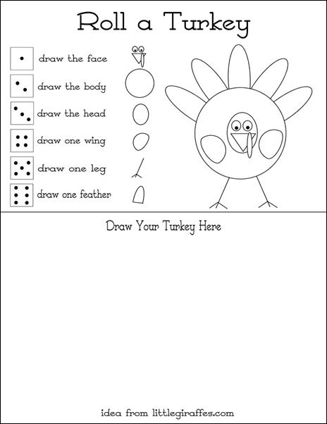 Turkey Game Black and White - Instead of Drawing, just color the part rolled.  Use a die with digits on it to incorporate number recognition or use dots to encourage one-to-one correspondence.
