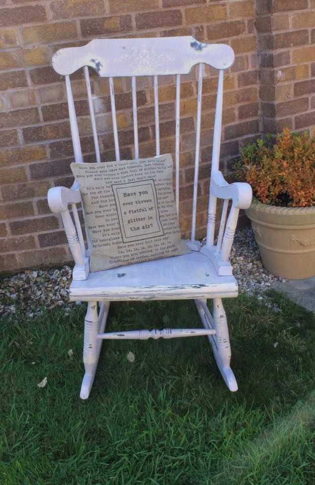Gorgeous rocking chair painted in Annie Sloan Old Ochre & Paloma