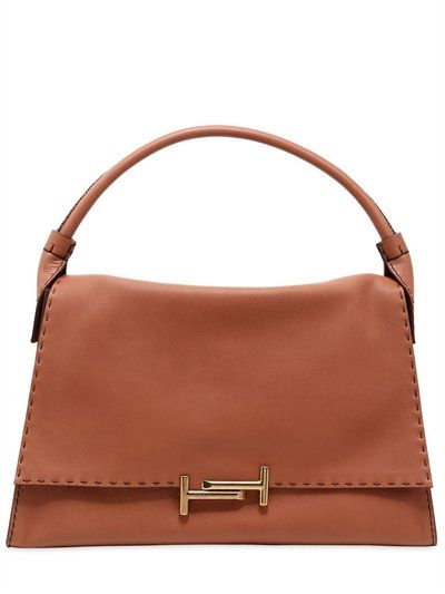 TOD'S Double T Large Leather Bag, Tan. #tods #bags #leather #