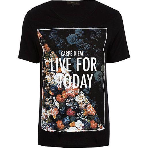 Black carpe diem floral print t-shirt - print t-shirts - t-shirts / vests - men
