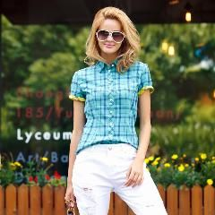 [ 30% OFF ] Veri Gude Plaid Shirts Women Short Sleeve Cotton Blouse For Summer Contrast Color