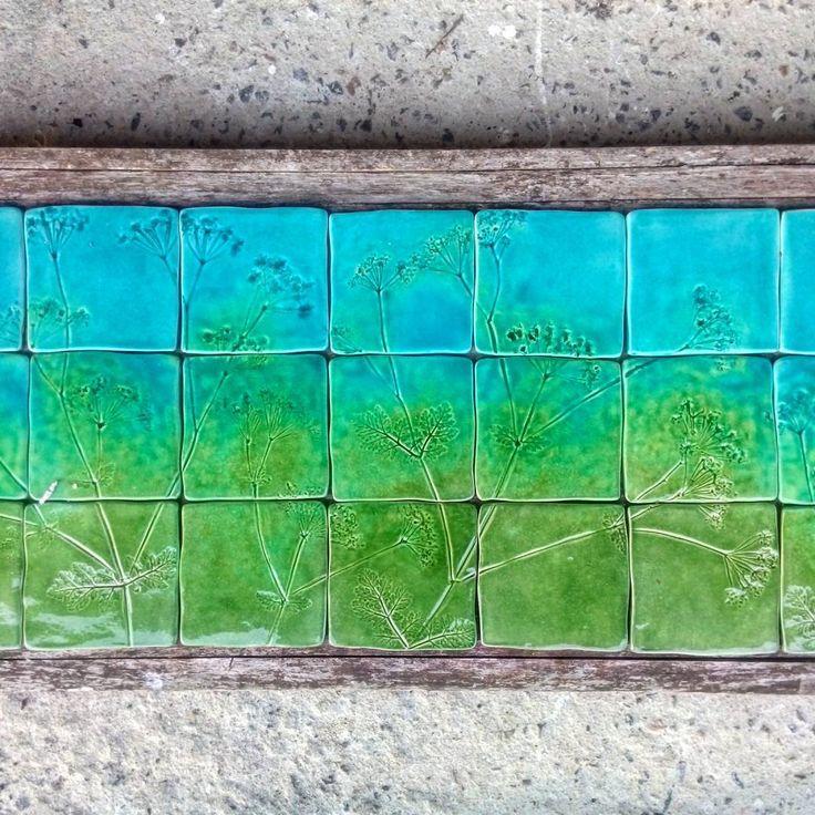 Part of a cow parsley splashback tile panel... #damsontreepottery #cowparsleytiles #bespoketiles #handmadetiles #inspiredbynature #botanicaldecor